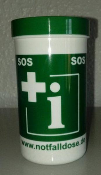 Notfalldose mit Etikett