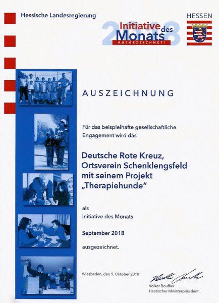 Urkunde Initiative des Landes Hessen September 2018